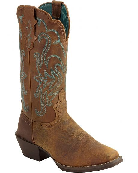 Justin Puma Cowhide Stampede Cowgirl Boots - Square Toe
