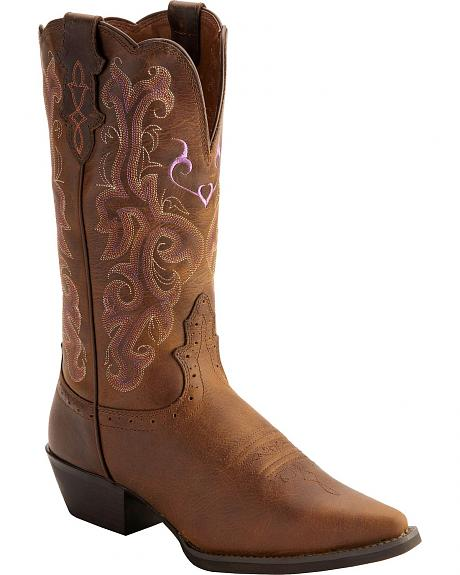 Justin Vintage Buffalo Stampede Cowgirl Boots - Snip Toe