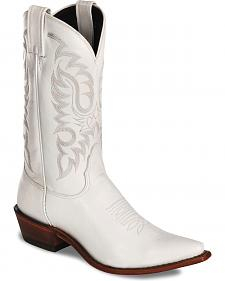 Nocona White Calfskin Cowgirl Boots - Snip Toe