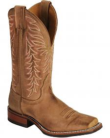 Nocona Fancy Stitched Rubber Sole Distressed Cowgirl Boots - Square Toe