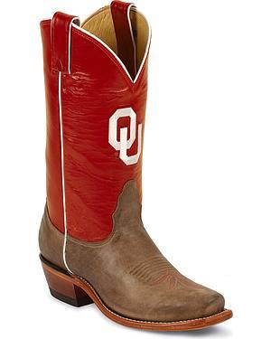Nocona Womens University of Oklahoma College Boots - Snip Toe