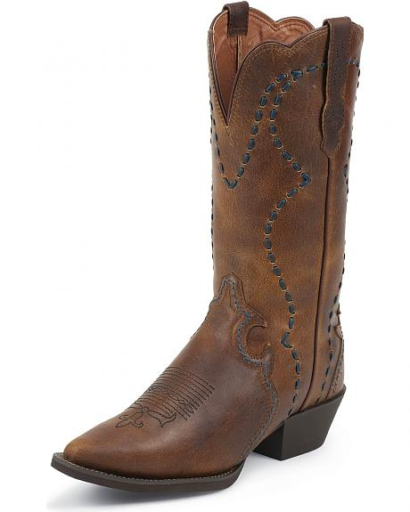 Justin Stampede Whipstitched Buffalo Cowgirl Boots - Pointed Toe