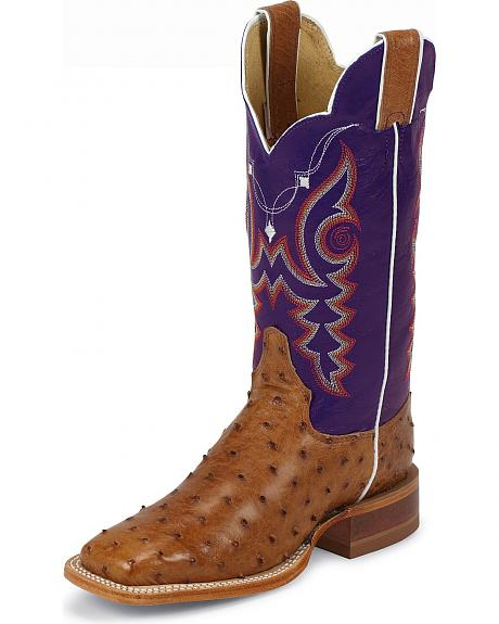 Justin AQHA Remuda Waxy Ostrich Cowgirl Boots - Square Toe