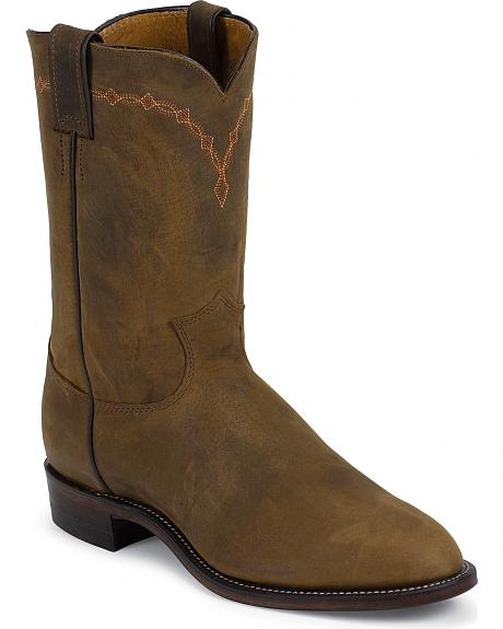 Justin Bay Apache Roper Boots - Leather Sole/Round Toe