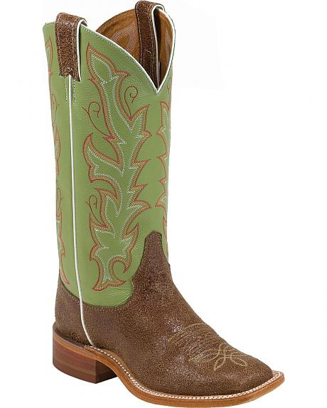 Justin Bent Rail Distressed Cowgirl Boots - Square Toe