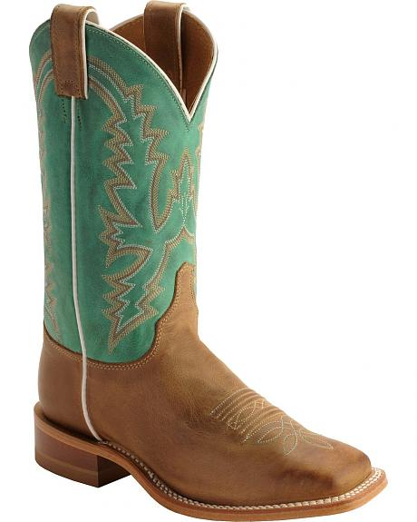 Justin Bent Rail Burnished Calf Cowgirl Boots - Square Toe