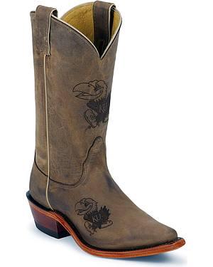 Nocona University of Kansas College Cowgirl Boots - Snip Toe