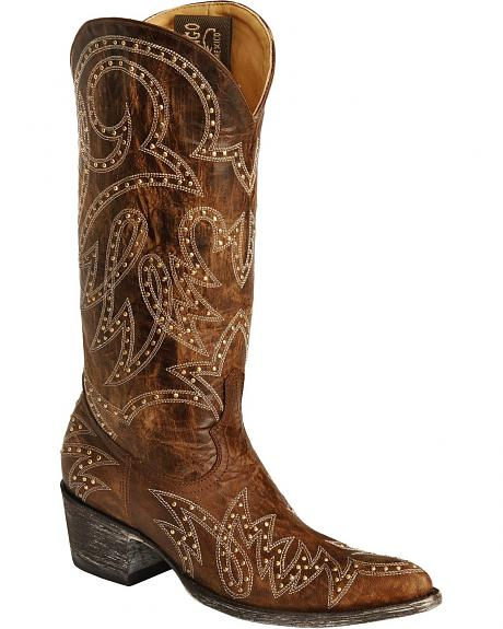 Old Gringo Lauren Gold Studded Cowgirl Boots - Pointed Toe
