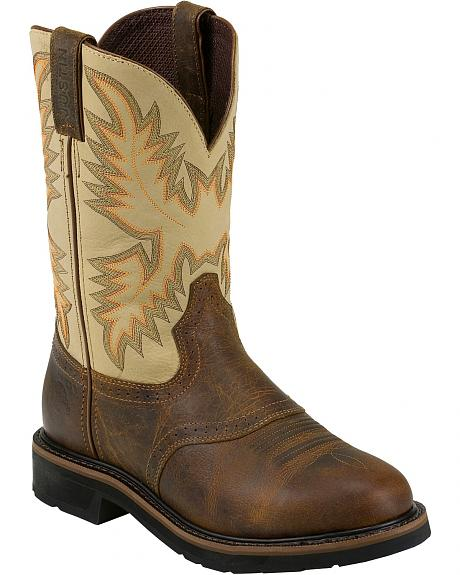 Justin Stampede Saddle Work Boots - Round Soft Toe
