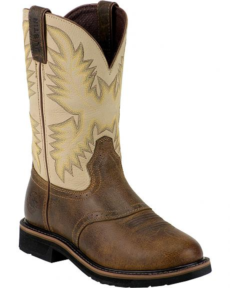Justin Stampede Saddle Work Boots - Round Steel Toe