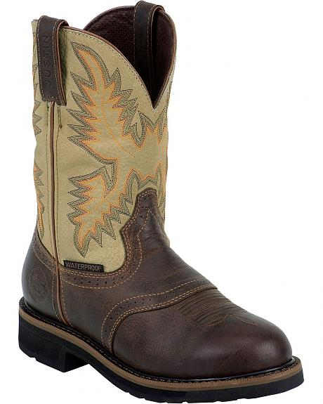 Justin Stampede Waterproof Work Boots - Round Soft Toe