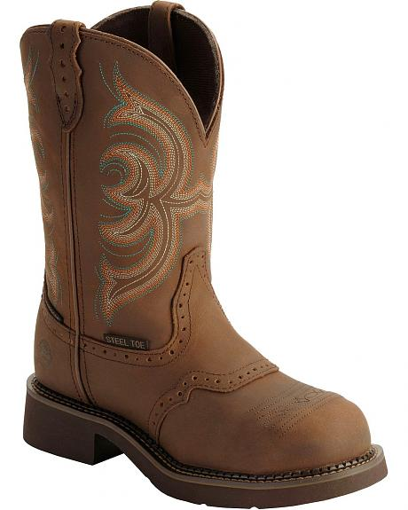 Justin Gypsy Waterproof Work Boots - Round Steel Toe