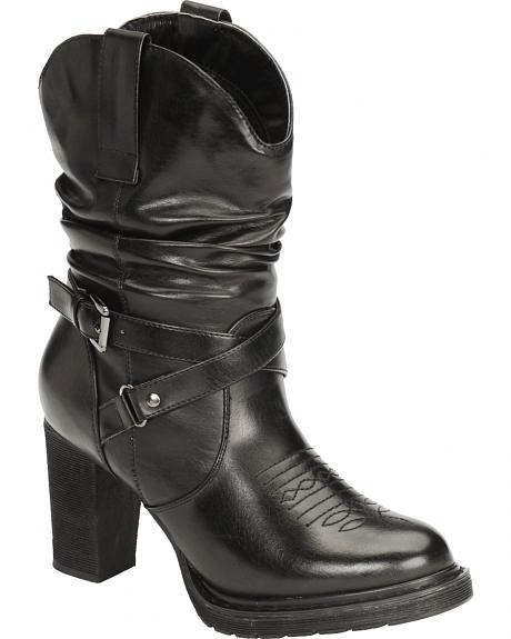 Roper Faux Leather Slouch Boots - Round Toe