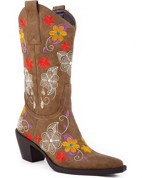 Roper Vintage Floral Embroidered Faux Leather Cowgirl Boots - Snip Toe