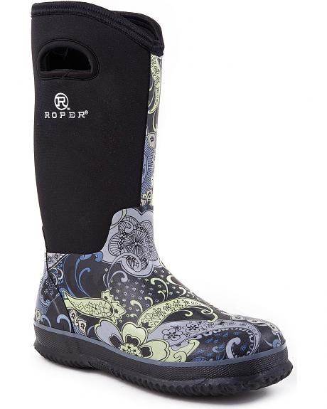 Roper Neoprene Shaft Rubber Boots - Round Toe
