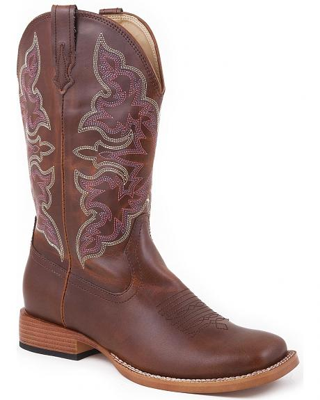 Roper Brown Faux Leather Cowgirl Boots - Square Toe