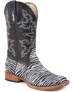 Roper Faux Leather Glitter Zebra Print Cowgirl Boots - Square Toe