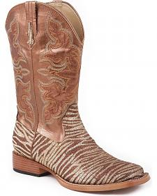 Roper Glittery Zebra Print Faux Leather Cowgirl Boots - Square Toe