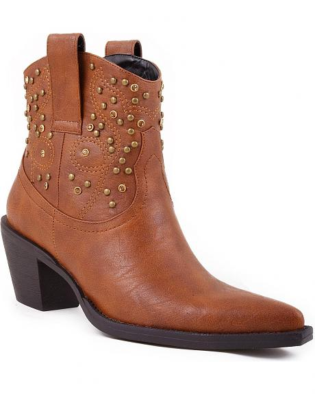 Roper Studs & Crystals Ankle Boots - Pointed Toe