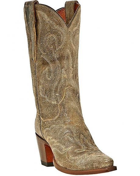 Dan Post Tan El Paso Falcon Stitch Cowgirl Boots - Snip Toe