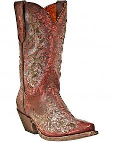 Dan Post Sanded Inlay Cowgirl Boots - Snip Toe