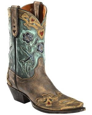 Dan Post Blue Bird Wingtip Cowgirl Boots - Snip Toe