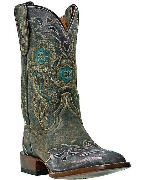 Dan Post Floral & Arrow Inlay Wingtip Cowgirl Boots - Square Toe