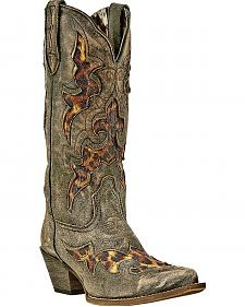 Laredo Leopard Print Leather Inlay Cowgirl Boots - Snip Toe