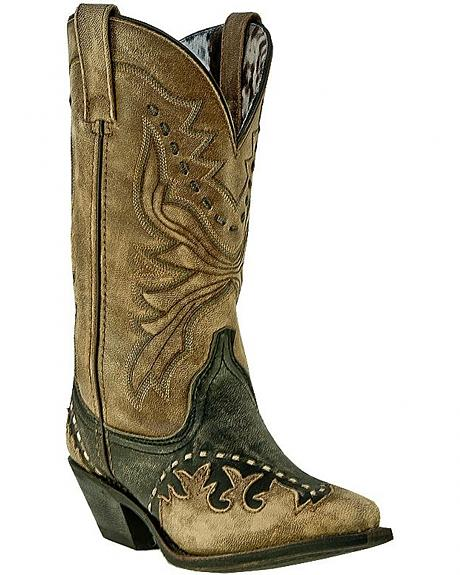 Laredo Wingtip & Bucklace Cowgirl Boots - Snip Toe