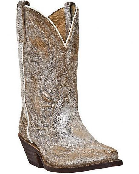 Laredo Distressed Metallic Shorty Cowgirl Boots - Snip Toe