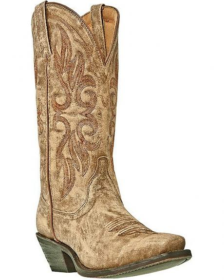 Laredo Crackle Goat Skin Cowgirl Boots - Square Toe