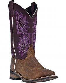 Laredo Fancy Stitched Purple Cowgirl Boots - Square Toe
