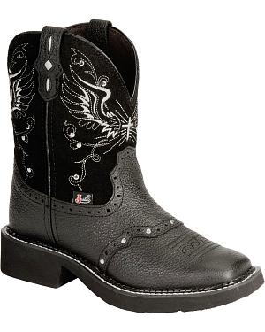 Justin Black Wing Stitched Gypsy Boots - Square Toe