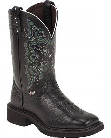 Justin Black Pearl Print Gypsy Boots - Square Toe