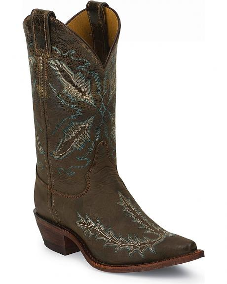 Justin Bent Rail Distressed Puma Cowgirl Boots - Snip Toe