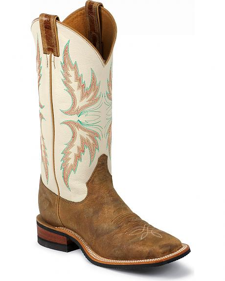 Justin Bent Rail Ivory Puma Cowgirl Boots - Square Toe
