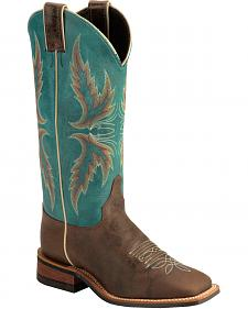 Justin Bent Rail Blue Puma Cowgirl Boots - Square Toe