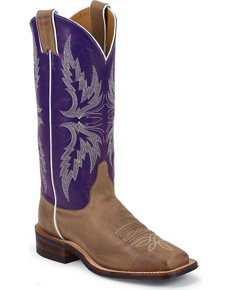 Justin Bent Rail Purple Goat Cowgirl Boots - Square Toe