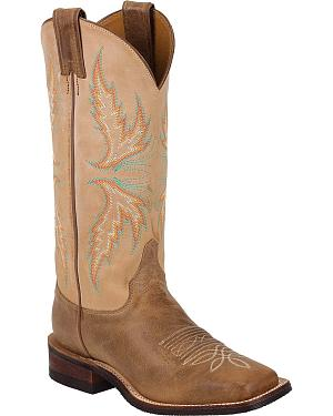 Justin Bent Rail Camel Cowgirl Boots - Square Toe