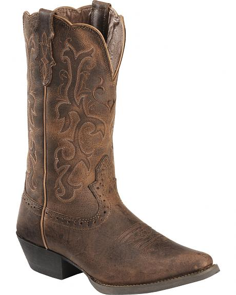 Justin Distressed Puma Cowhide Stampede Cowgirl Boots - Snip Toe