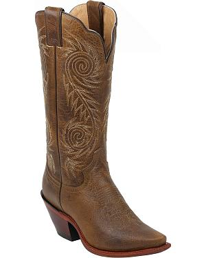 Justin Tan Damiana Western Cowgirl Boots - Pointed Toe