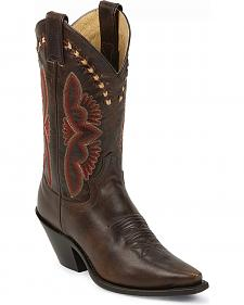 Justin Leather Laced Torino Cowgirl Boots - Snip Toe