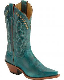 Justin Leather Laced Turquoise-Hue Torino Cowgirl Boots - Snip Toe