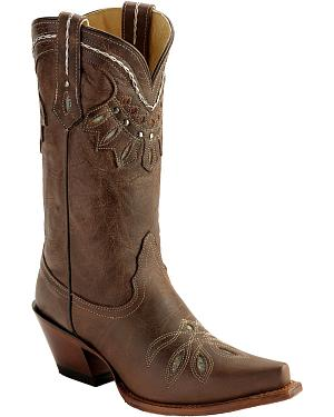 Tony Lama Vaquero Rancho Inlay Cowgirl Boots - Snip Toe