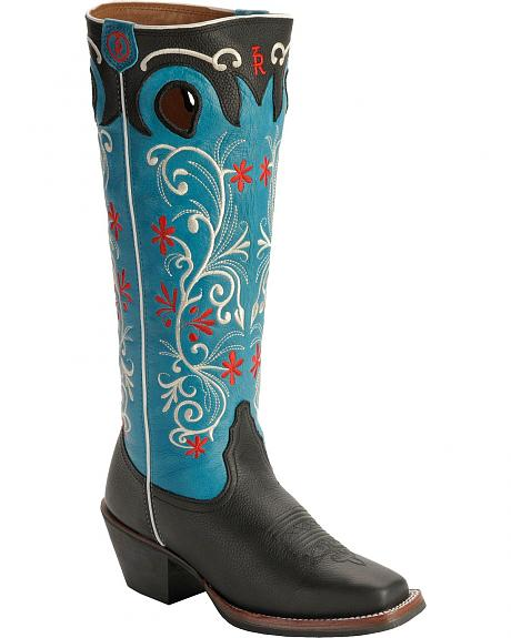 Tony Lama 3R Series Black Tejas Cowgirl Boots - Square Toe