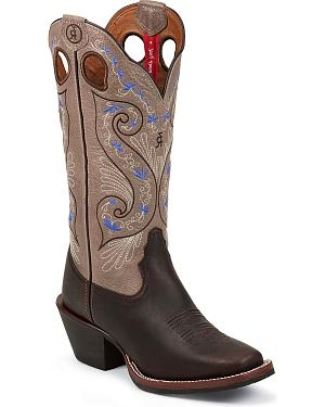 Tony Lama 3R Series Bridle Brown Shiloh Cowgirl Boots - Square Toe