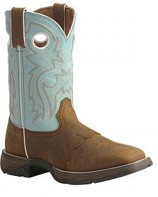 Durango Blue Flirt Saddle Cowgirl Boots - Square Toe