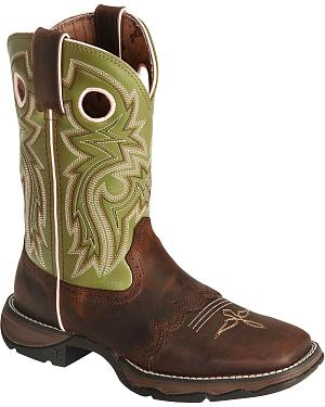 Durango Green Flirt Saddle Cowgirl Boots - Square Toe