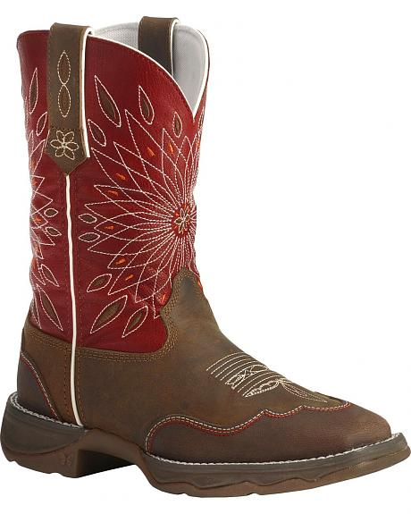 Durango Red Flirt Cowgirl Boots - Square Toe
