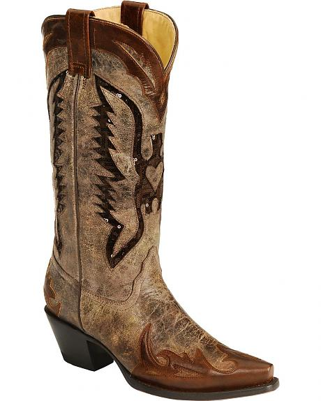 Corral Distressed Eagle Sequin Inlay Cowgirl Boots - Snip Toe